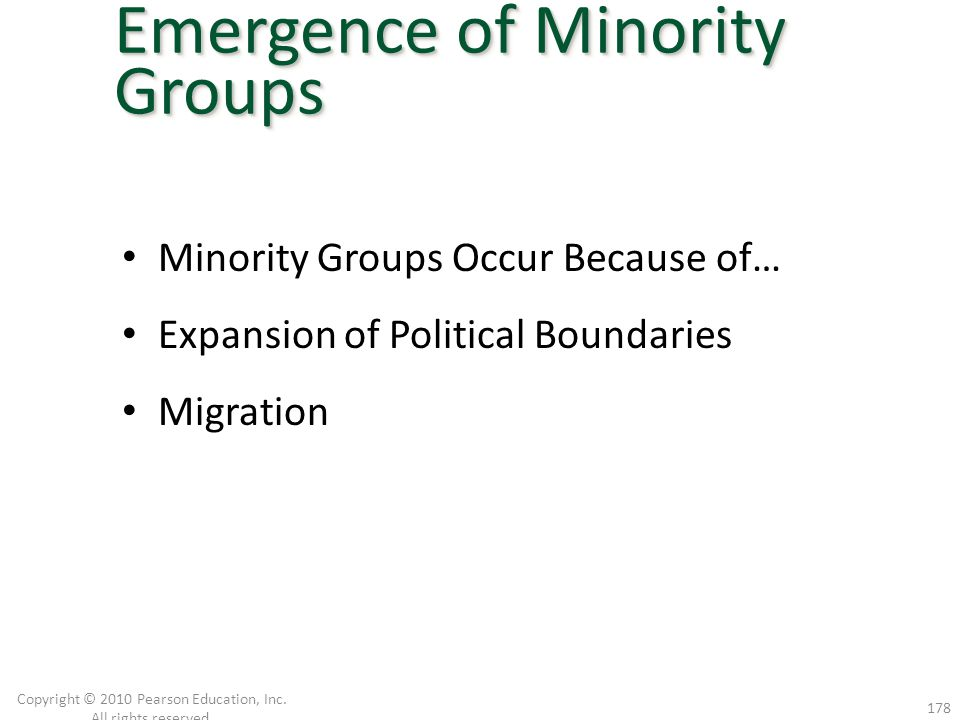 Minority Groups Occur Because of… Expansion of Political Boundaries Migration Copyright © 2010 Pearson Education, Inc. All rights reserved. 178 Emerge