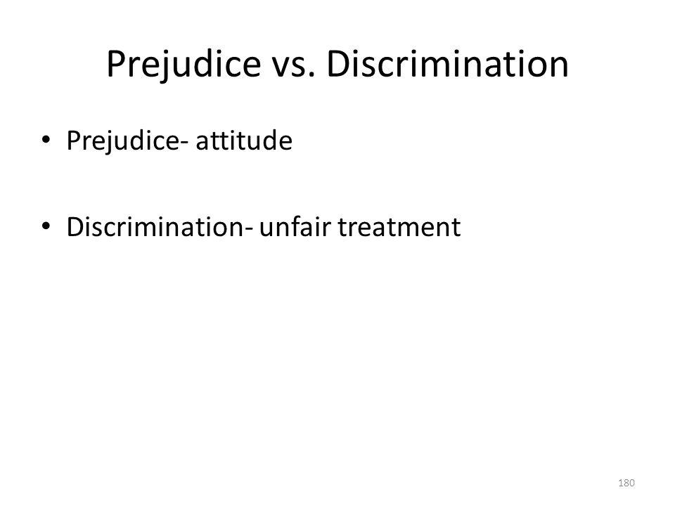 Prejudice vs. Discrimination 180 Prejudice- attitude Discrimination- unfair treatment