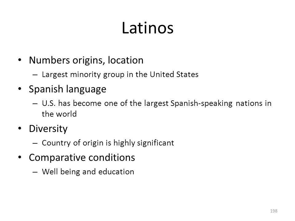 Latinos 198 Numbers origins, location – Largest minority group in the United States Spanish language – U.S. has become one of the largest Spanish-spea