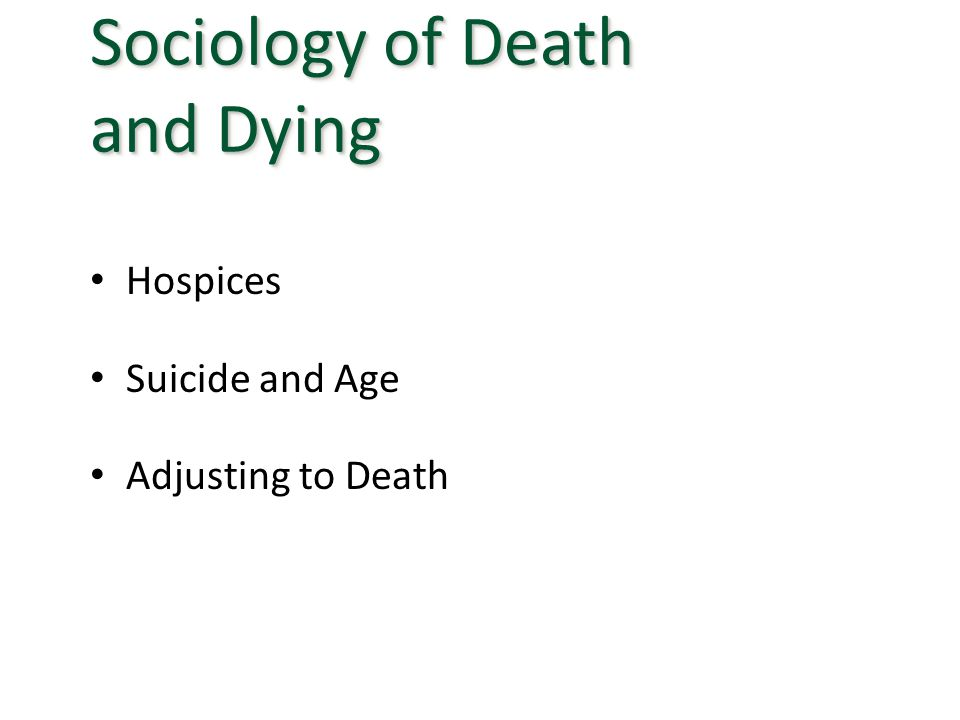 Hospices Suicide and Age Adjusting to Death Sociology of Death and Dying