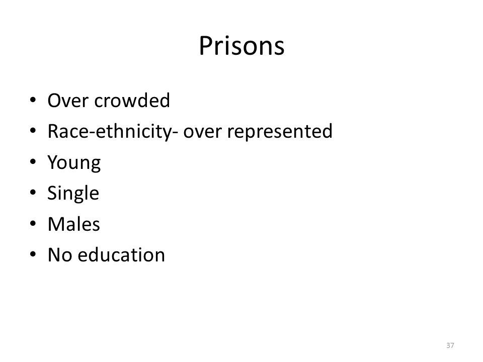 Prisons 37 Over crowded Race-ethnicity- over represented Young Single Males No education