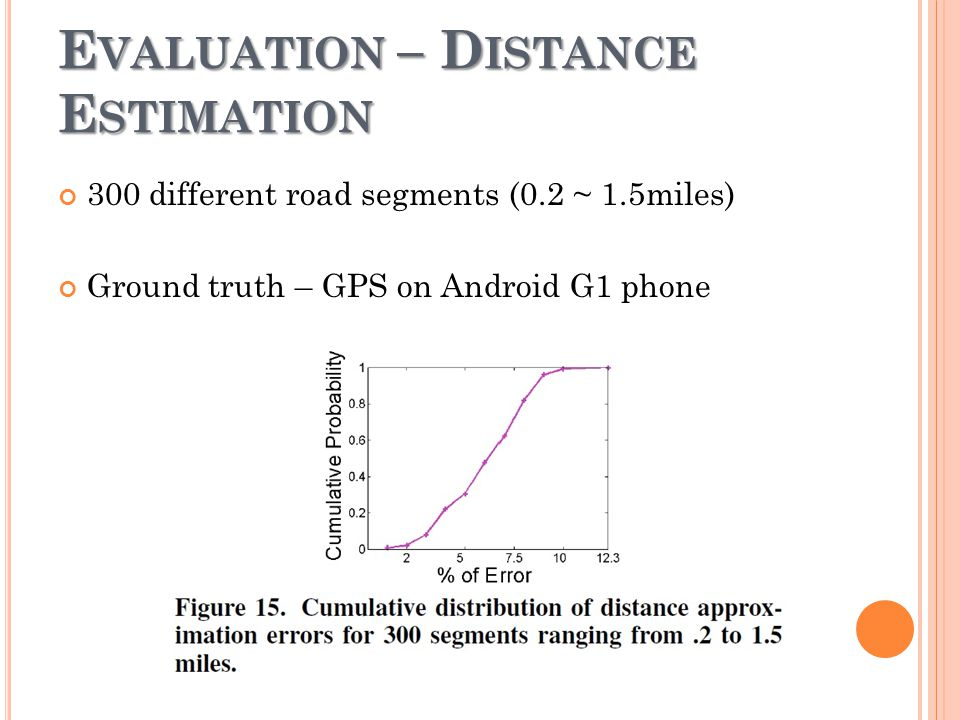 E VALUATION – D ISTANCE E STIMATION 300 different road segments (0.2 ~ 1.5miles) Ground truth – GPS on Android G1 phone