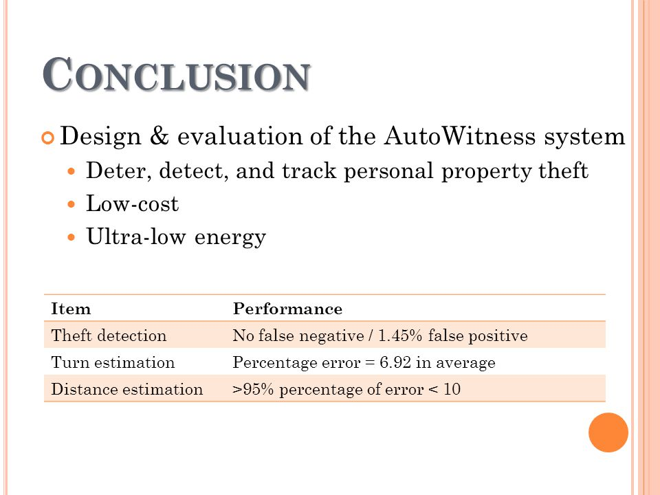 C ONCLUSION Design & evaluation of the AutoWitness system Deter, detect, and track personal property theft Low-cost Ultra-low energy ItemPerformance Theft detectionNo false negative / 1.45% false positive Turn estimationPercentage error = 6.92 in average Distance estimation>95% percentage of error < 10