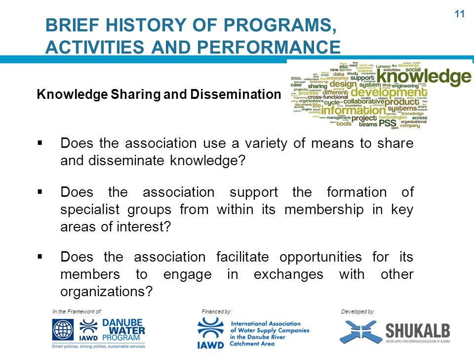 In the Framework of: Financed by: Developed by: BRIEF HISTORY OF PROGRAMS, ACTIVITIES AND PERFORMANCE Knowledge Sharing and Dissemination  Does the association use a variety of means to share and disseminate knowledge.