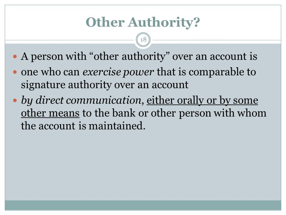 Other Authority.