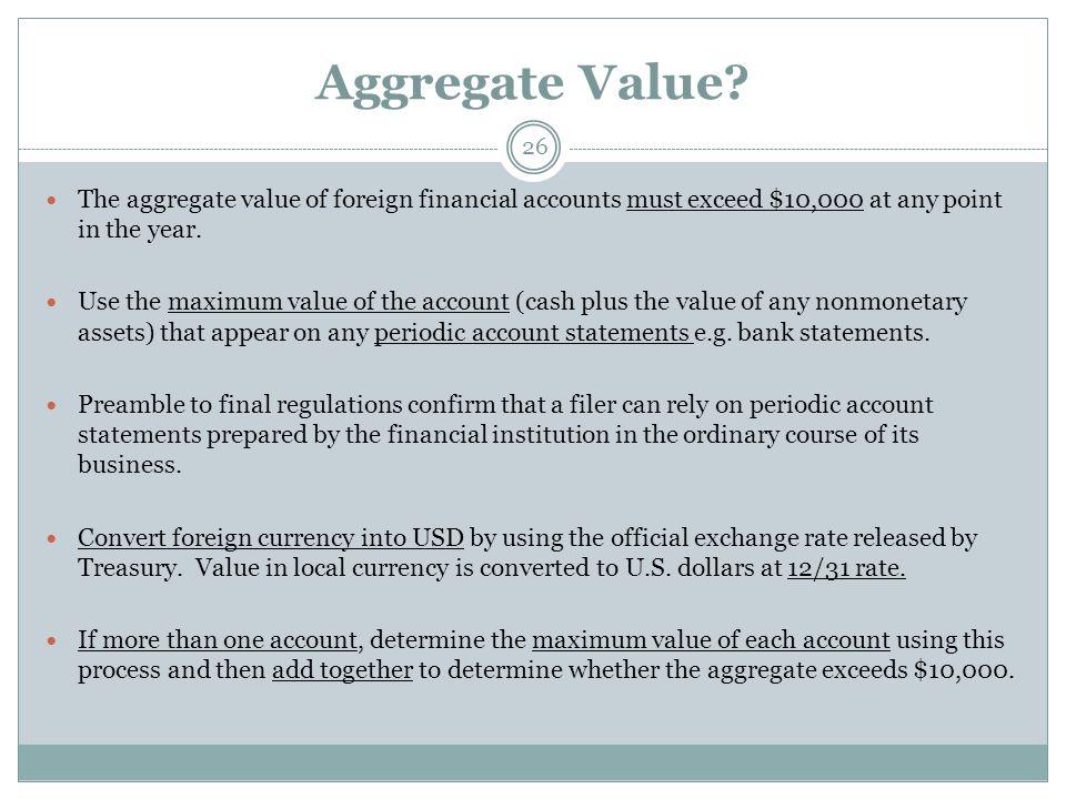 Aggregate Value.