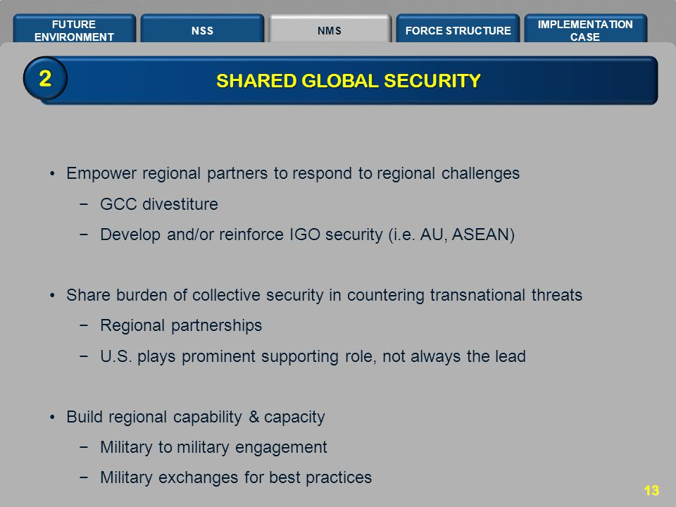 NSSNMSFORCE STRUCTURE IMPLEMENTATION CASE FUTURE ENVIRONMENT 13 SHARED GLOBAL SECURITY Empower regional partners to respond to regional challenges −GC