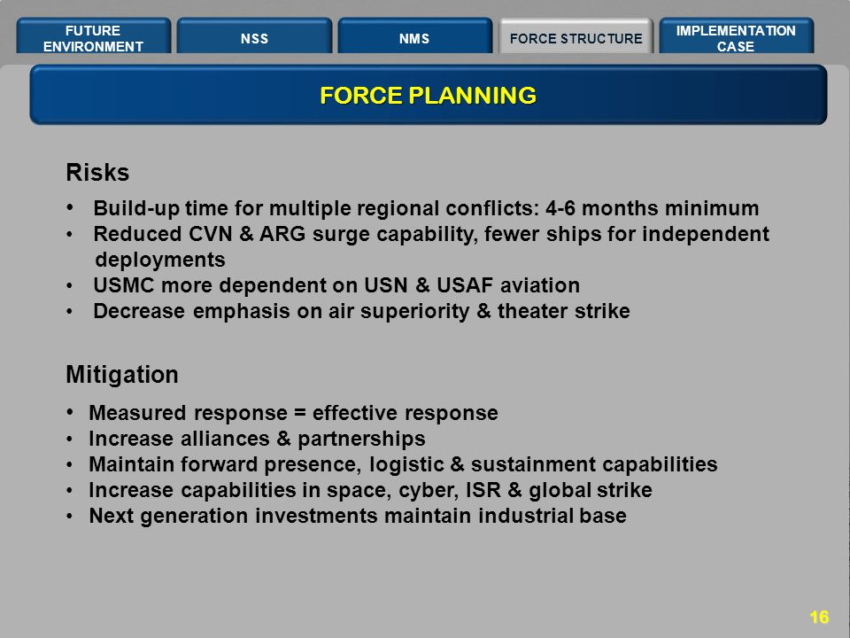 NSSNMSFORCE STRUCTURE IMPLEMENTATION CASE FUTURE ENVIRONMENT 16 Risks Mitigation Build-up time for multiple regional conflicts: 4-6 months minimum Red