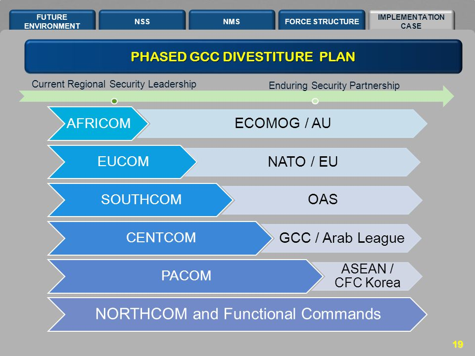 NSSNMSFORCE STRUCTURE IMPLEMENTATION CASE FUTURE ENVIRONMENT 19 AFRICOM ECOMOG / AU EUCOM NATO / EU SOUTHCOM OAS CENTCOM GCC / Arab League PACOM ASEAN