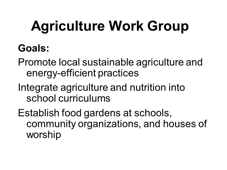 Agriculture Work Group Goals: Promote local sustainable agriculture and energy-efficient practices Integrate agriculture and nutrition into school cur