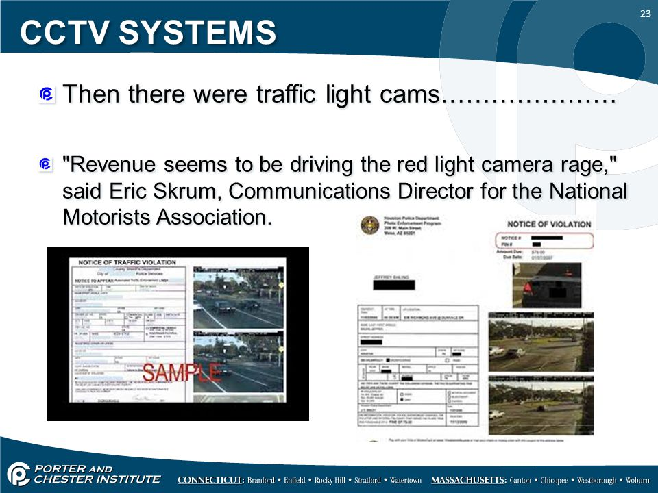 23 CCTV SYSTEMS Then there were traffic light cams…………………