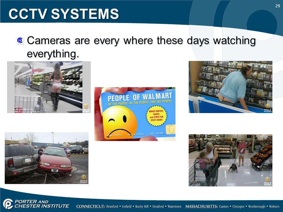 29 CCTV SYSTEMS Cameras are every where these days watching everything.