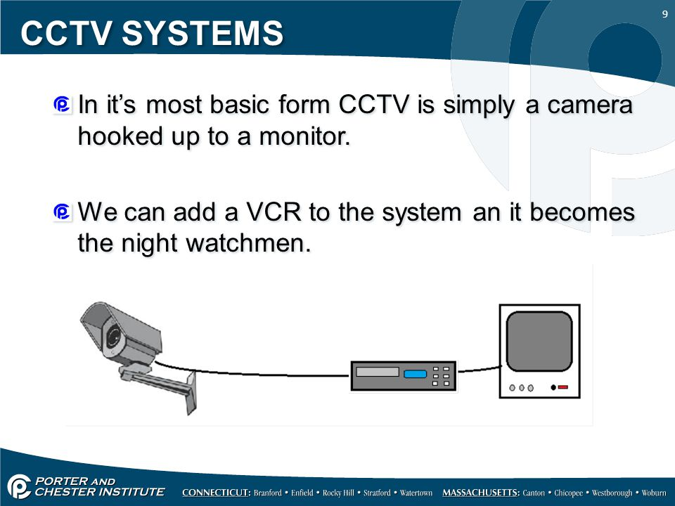 9 CCTV SYSTEMS In it's most basic form CCTV is simply a camera hooked up to a monitor. We can add a VCR to the system an it becomes the night watchmen