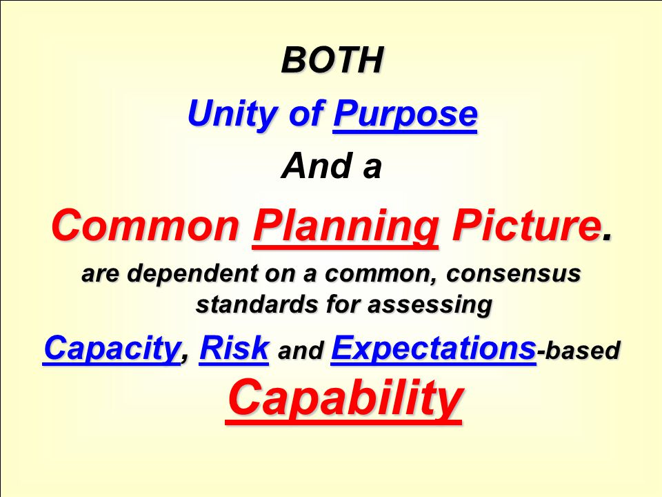 BOTH Unity of Purpose And a Common Planning Picture.