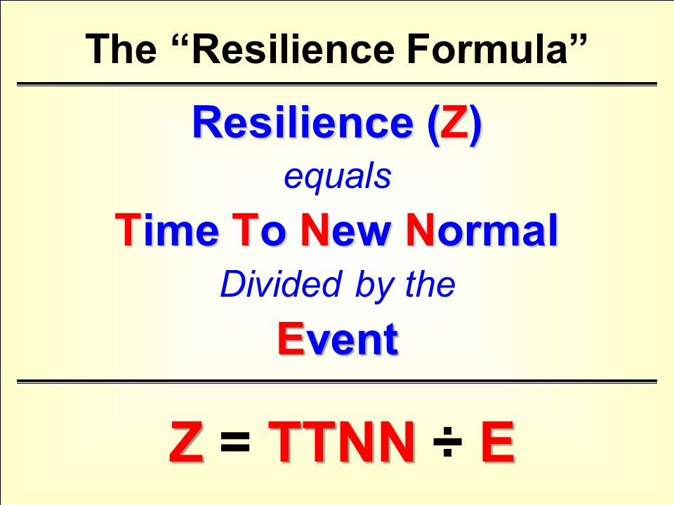 The Resilience Formula Resilience (Z) equals Time To New Normal Divided by the Event ZTTNNE Z = TTNN ÷ E