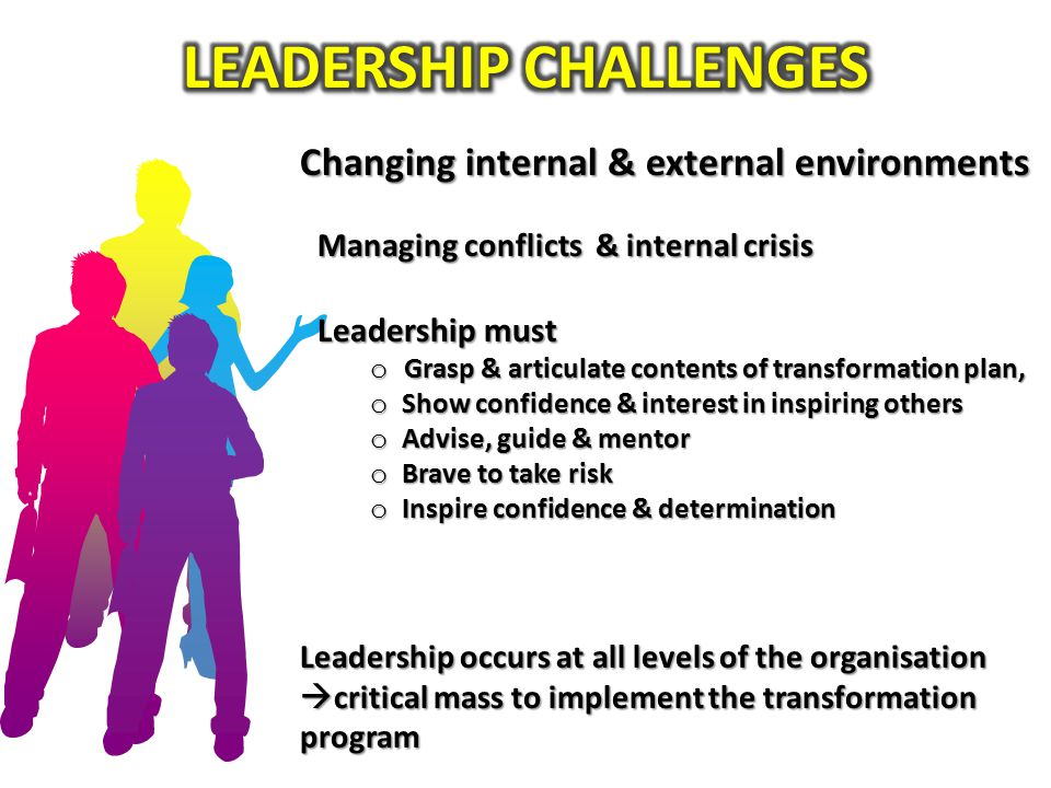 Changing internal & external environments Leadership occurs at all levels of the organisation  critical mass to implement the transformation program Managing conflicts & internal crisis Leadership must o Grasp & articulate contents of transformation plan, o Show confidence & interest in inspiring others o Advise, guide & mentor o Brave to take risk o Inspire confidence & determination