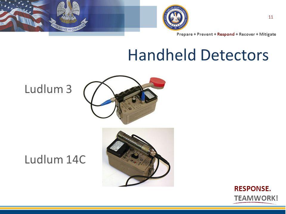 Prepare + Prevent + Respond + Recover + Mitigate RESPONSE. TEAMWORK! Handheld Detectors 11 Ludlum 3 Ludlum 14C