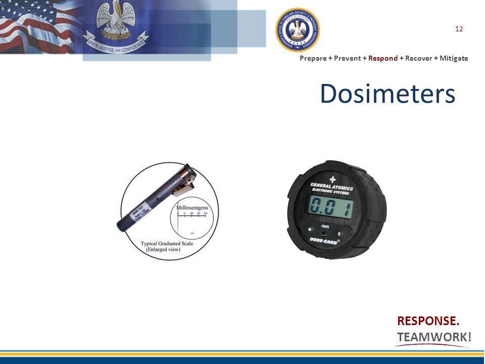 Prepare + Prevent + Respond + Recover + Mitigate RESPONSE. TEAMWORK! Dosimeters 12