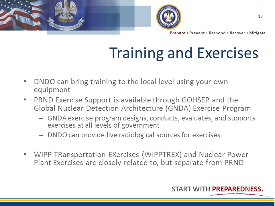 Prepare + Prevent + Respond + Recover + Mitigate START WITH PREPAREDNESS. Training and Exercises DNDO can bring training to the local level using your