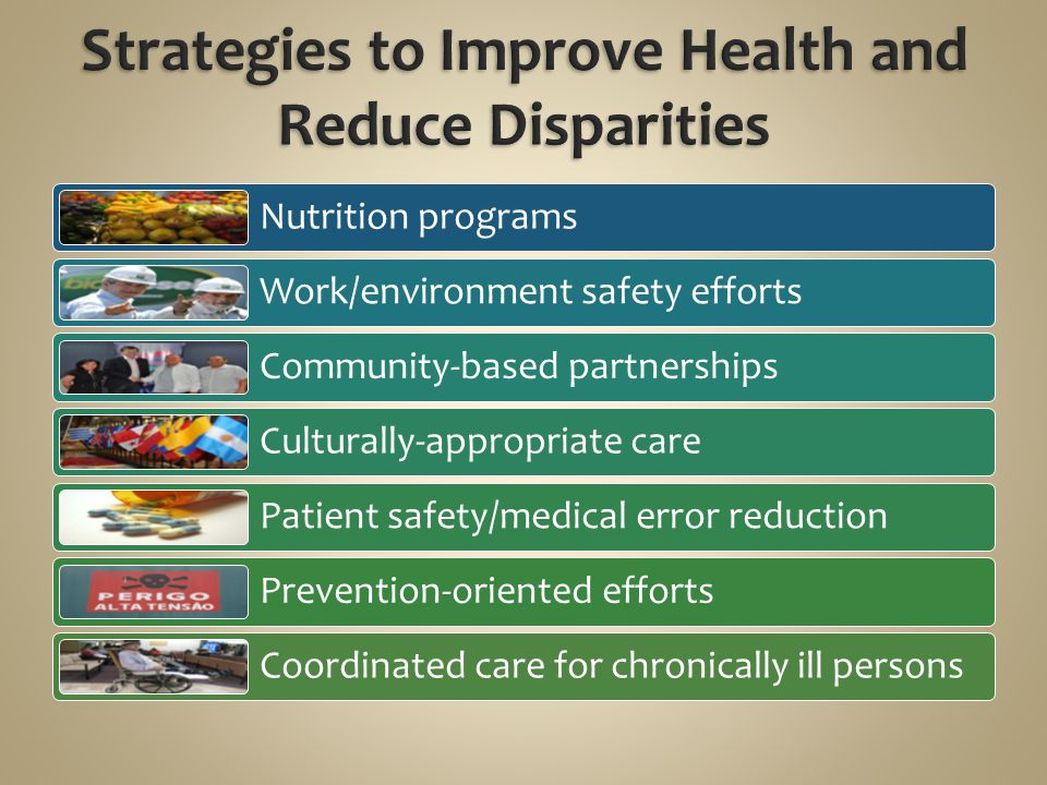 Nutrition programs Work/environment safety efforts Community-based partnerships Culturally-appropriate care Patient safety/medical error reduction Pre
