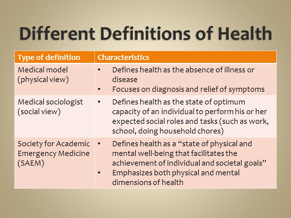 Type of definitionCharacteristics Medical model (physical view) Defines health as the absence of illness or disease Focuses on diagnosis and relief of