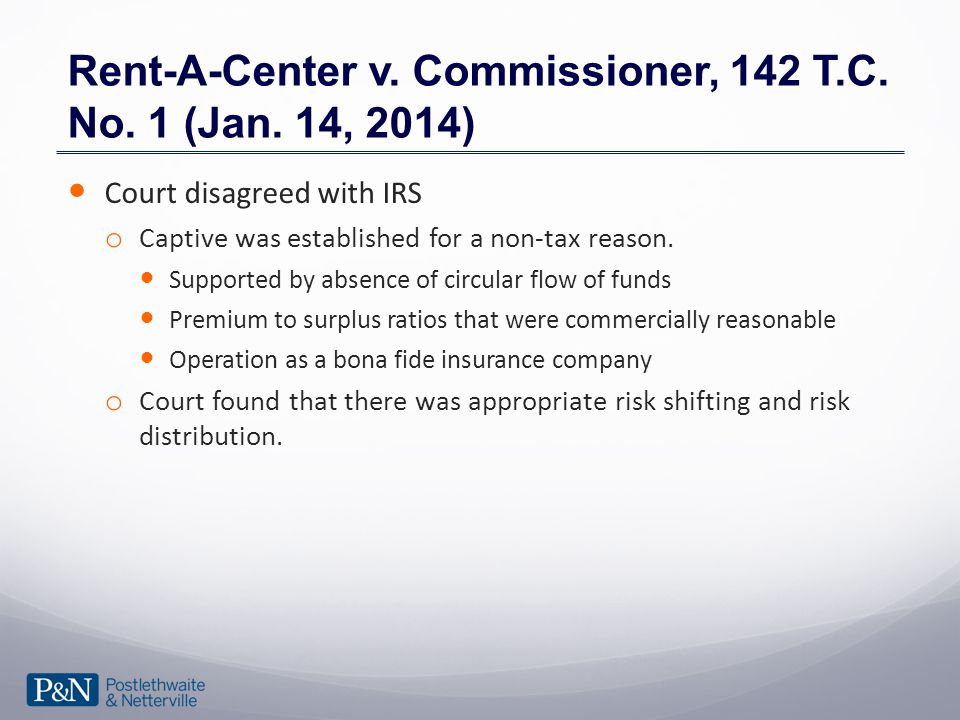 Rent-A-Center v. Commissioner, 142 T.C. No. 1 (Jan.