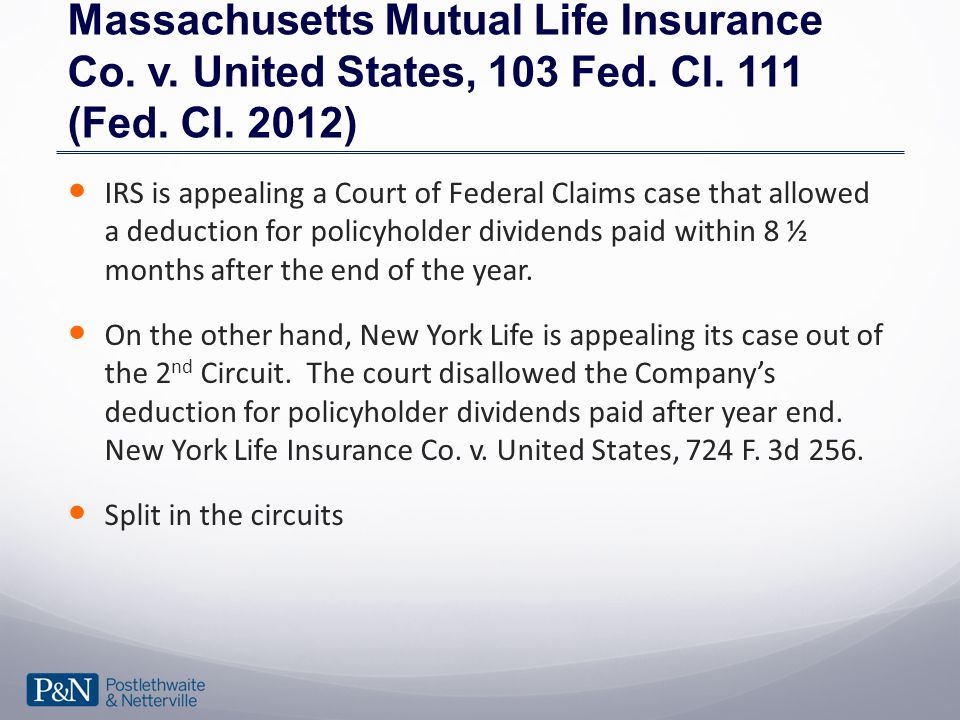 Massachusetts Mutual Life Insurance Co. v. United States, 103 Fed.