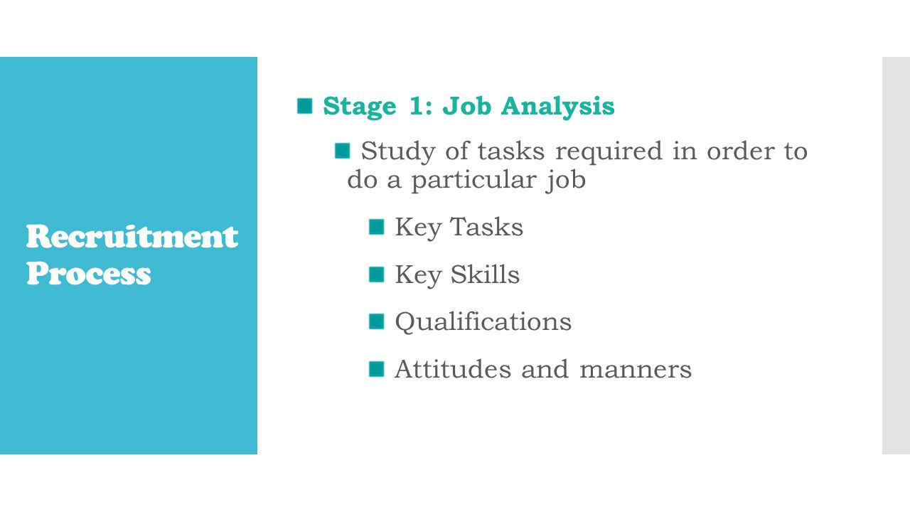Recruitment Process Stage 1: Job Analysis Study of tasks required in order to do a particular job Key Tasks Key Skills Qualifications Attitudes and manners