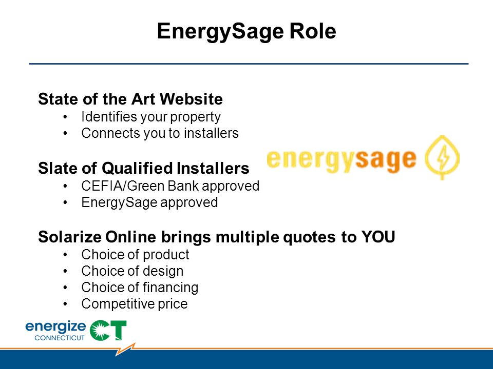 EnergySage Role State of the Art Website Identifies your property Connects you to installers Slate of Qualified Installers CEFIA/Green Bank approved EnergySage approved Solarize Online brings multiple quotes to YOU Choice of product Choice of design Choice of financing Competitive price
