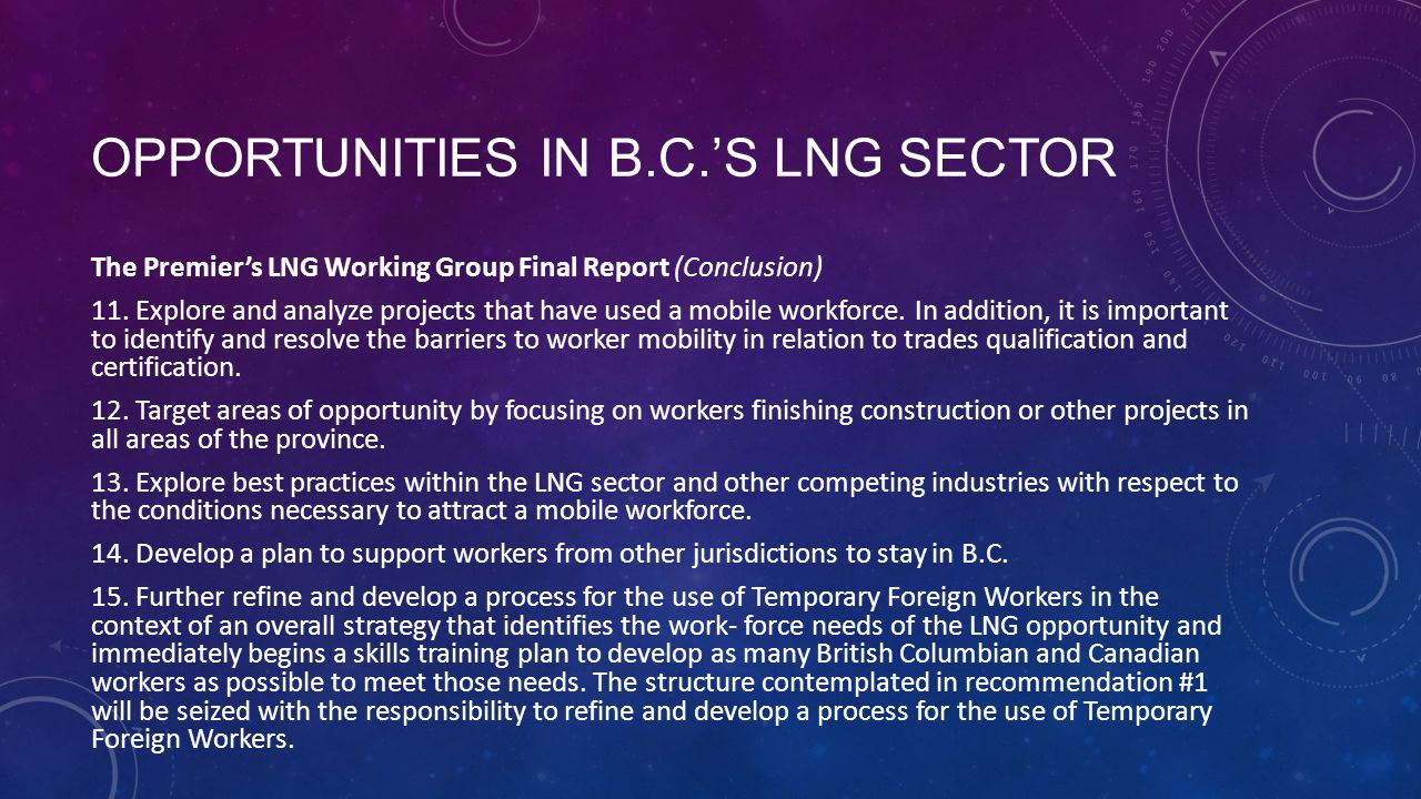 OPPORTUNITIES IN B.C.'S LNG SECTOR The Premier's LNG Working Group Final Report (Conclusion) 11.
