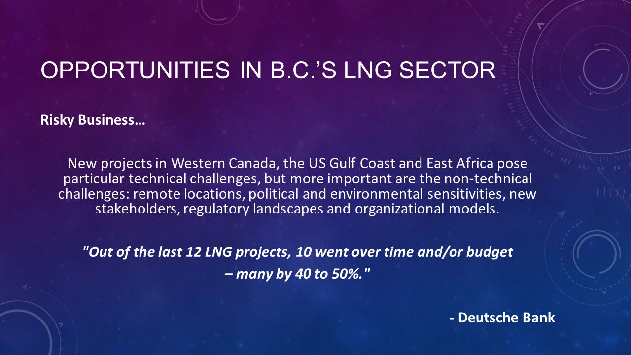 OPPORTUNITIES IN B.C.'S LNG SECTOR Risky Business… New projects in Western Canada, the US Gulf Coast and East Africa pose particular technical challenges, but more important are the non-technical challenges: remote locations, political and environmental sensitivities, new stakeholders, regulatory landscapes and organizational models.