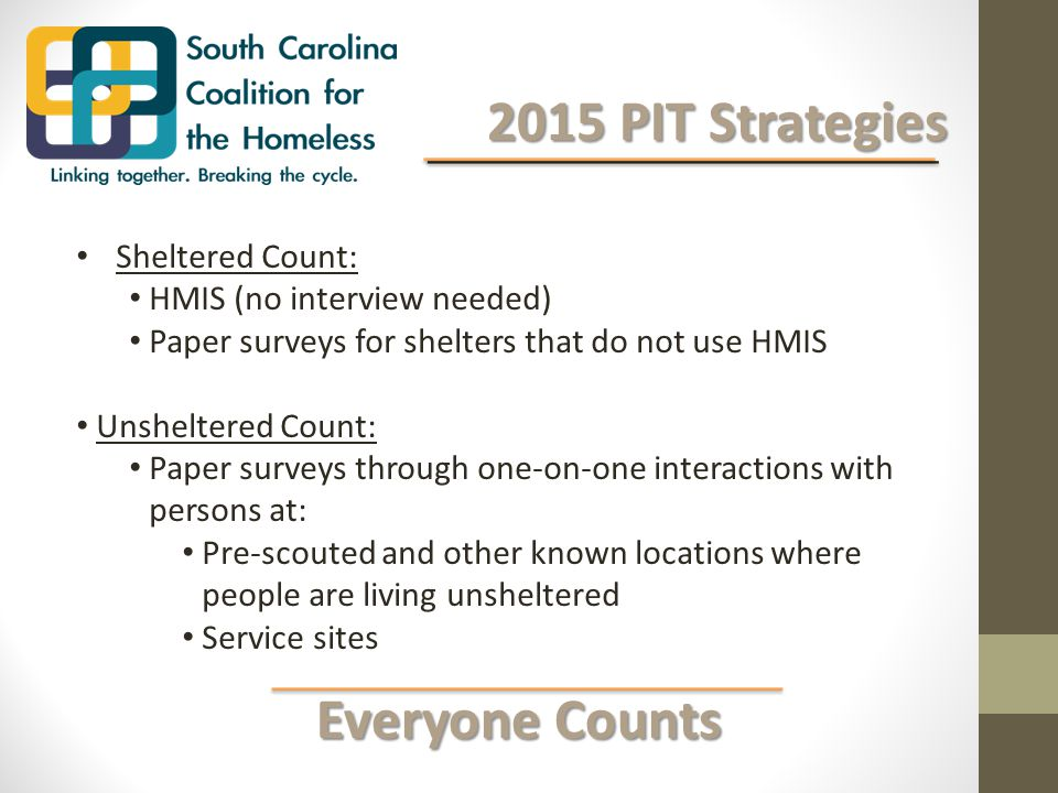 Everyone Counts Everyone Counts 2015 PIT Strategies 2015 PIT Strategies Sheltered Count: HMIS (no interview needed) Paper surveys for shelters that do not use HMIS Unsheltered Count: Paper surveys through one-on-one interactions with persons at: Pre-scouted and other known locations where people are living unsheltered Service sites