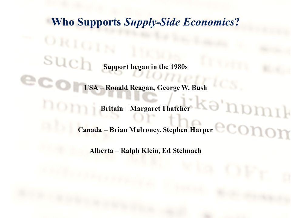Who Supports Supply-Side Economics. Support began in the 1980s USA – Ronald Reagan, George W.