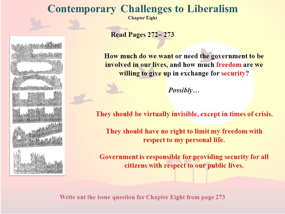 Read Pages 272– 273 Write out the issue question for Chapter Eight from page 273 How much do we want or need the government to be involved in our lives, and how much freedom are we willing to give up in exchange for security.