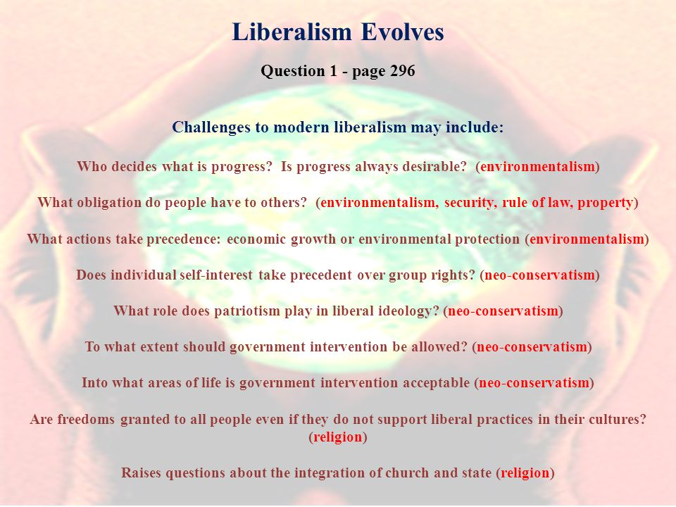 Liberalism Evolves Question 1 - page 296 Challenges to modern liberalism may include: Who decides what is progress.