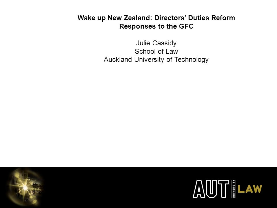Julie Cassidy School of Law Auckland University of Technology