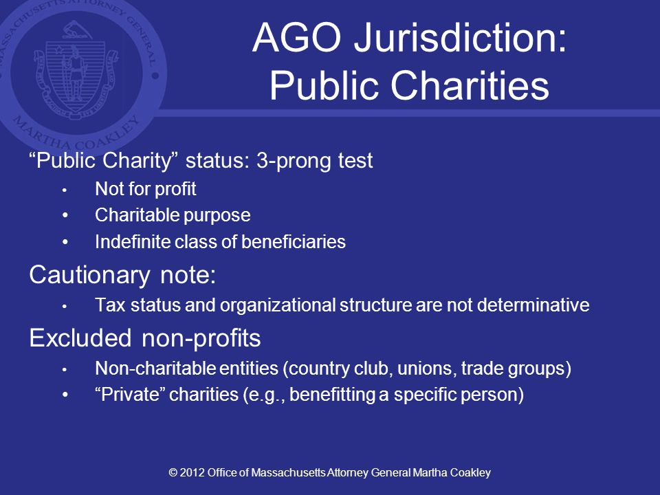 Enforcement/Solution: AGO Approaches Lawsuit Governance Agreement Reports Letters Goal: Deter bad practices, support good practices, provide guidance © 2012 Office of Massachusetts Attorney General Martha Coakley