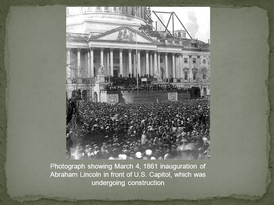 Photograph showing March 4, 1861 inauguration of Abraham Lincoln in front of U.S.