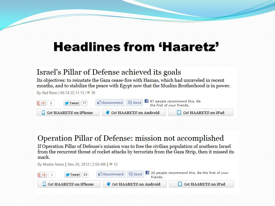 Headlines from 'Haaretz'