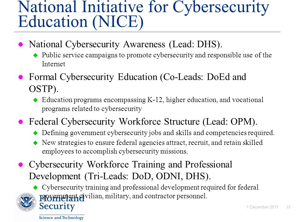 National Initiative for Cybersecurity Education (NICE) National Cybersecurity Awareness (Lead: DHS).