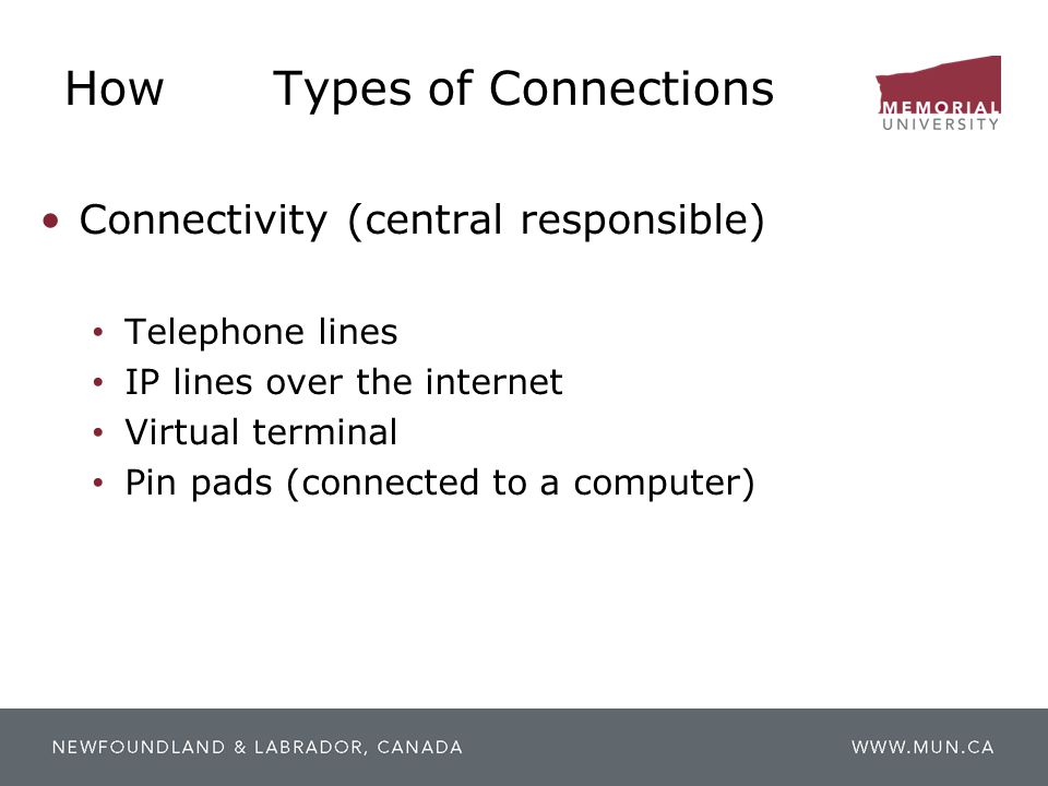 HowTypes of Connections Connectivity (central responsible) Telephone lines IP lines over the internet Virtual terminal Pin pads (connected to a comput