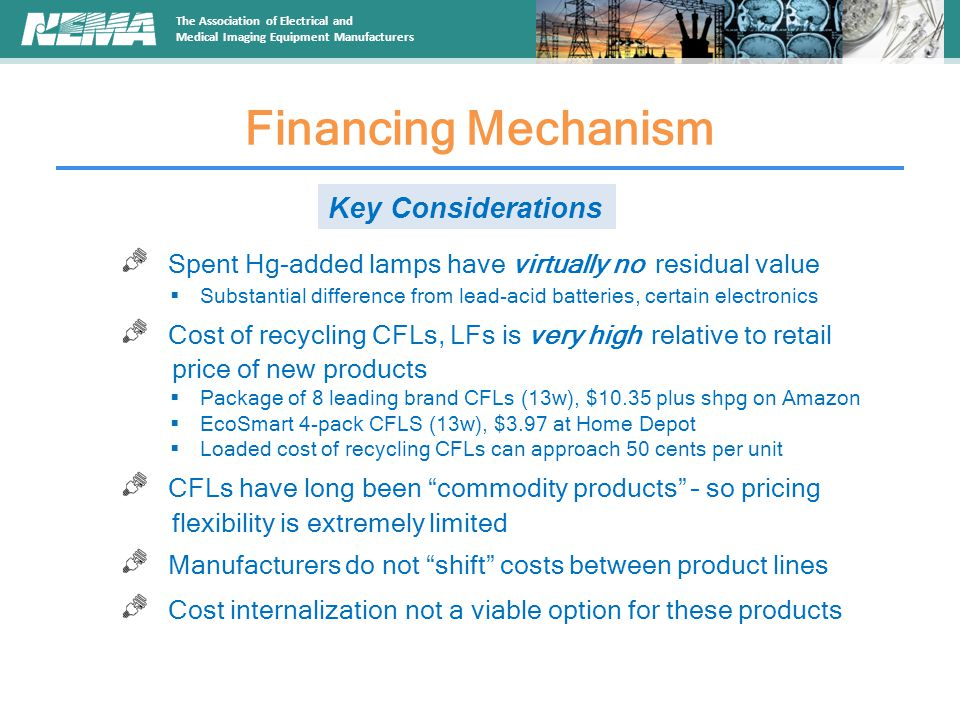 The Association of Electrical and Medical Imaging Equipment Manufacturers Financing Mechanism Key Considerations Spent Hg-added lamps have virtually no residual value  Substantial difference from lead-acid batteries, certain electronics Cost of recycling CFLs, LFs is very high relative to retail price of new products  Package of 8 leading brand CFLs (13w), $10.35 plus shpg on Amazon  EcoSmart 4-pack CFLS (13w), $3.97 at Home Depot  Loaded cost of recycling CFLs can approach 50 cents per unit CFLs have long been commodity products – so pricing flexibility is extremely limited Manufacturers do not shift costs between product lines Cost internalization not a viable option for these products