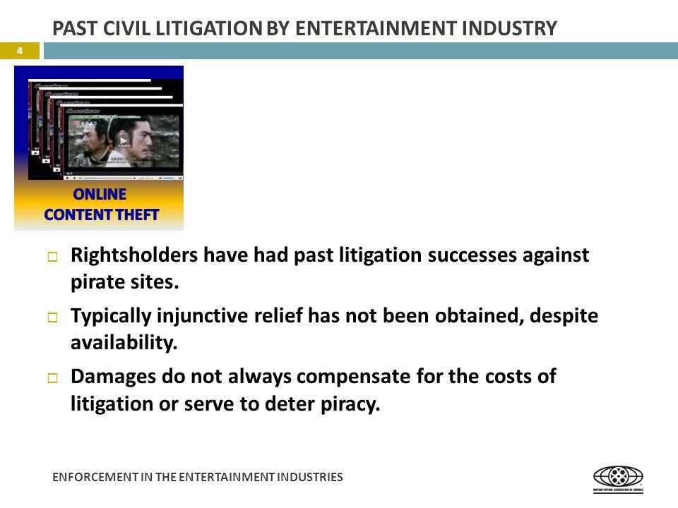 ENFORCEMENT IN THE ENTERTAINMENT INDUSTRIES  Rightsholders have had past litigation successes against pirate sites.