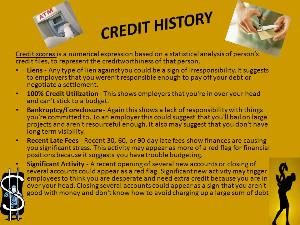 Credit scores is a numerical expression based on a statistical analysis of person's credit files, to represent the creditworthiness of that person.