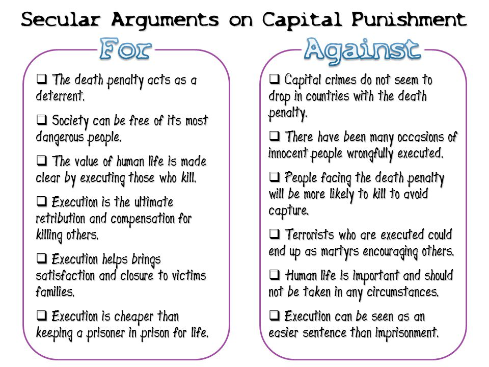 Secular Arguments on Capital Punishment  The death penalty acts as a deterrent.  Society can be free of its most dangerous people.  The value of hu