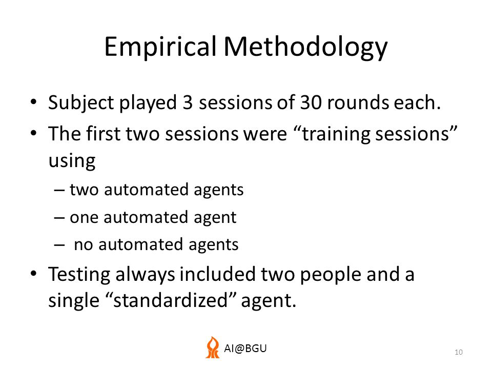 AI@BGU Empirical Methodology Subject played 3 sessions of 30 rounds each.