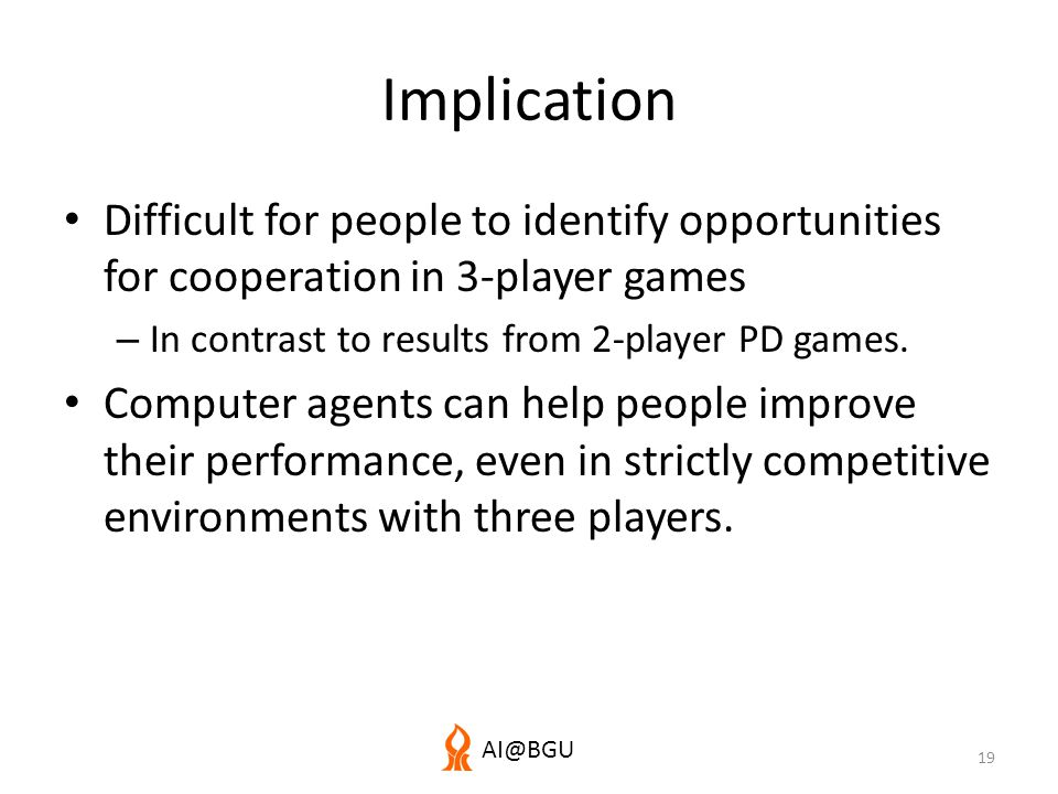 AI@BGU Implication Difficult for people to identify opportunities for cooperation in 3-player games – In contrast to results from 2-player PD games.