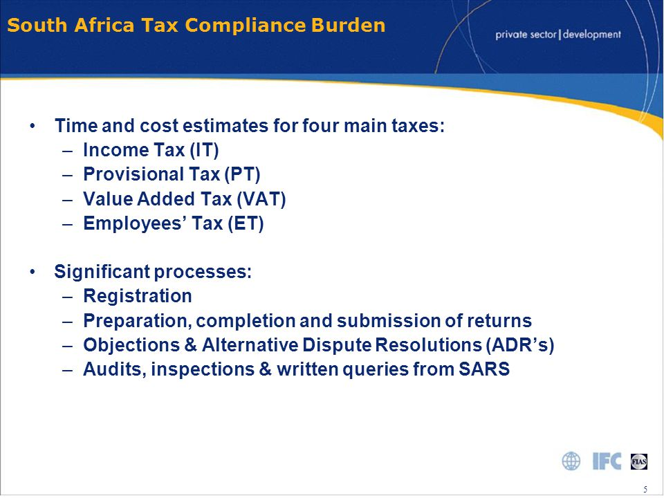 6 6 Regressive Compliance Cost Firms registered for VAT Firms not registered for VAT Source: FIAS Tax Compliance Cost Survey South Africa, 2007