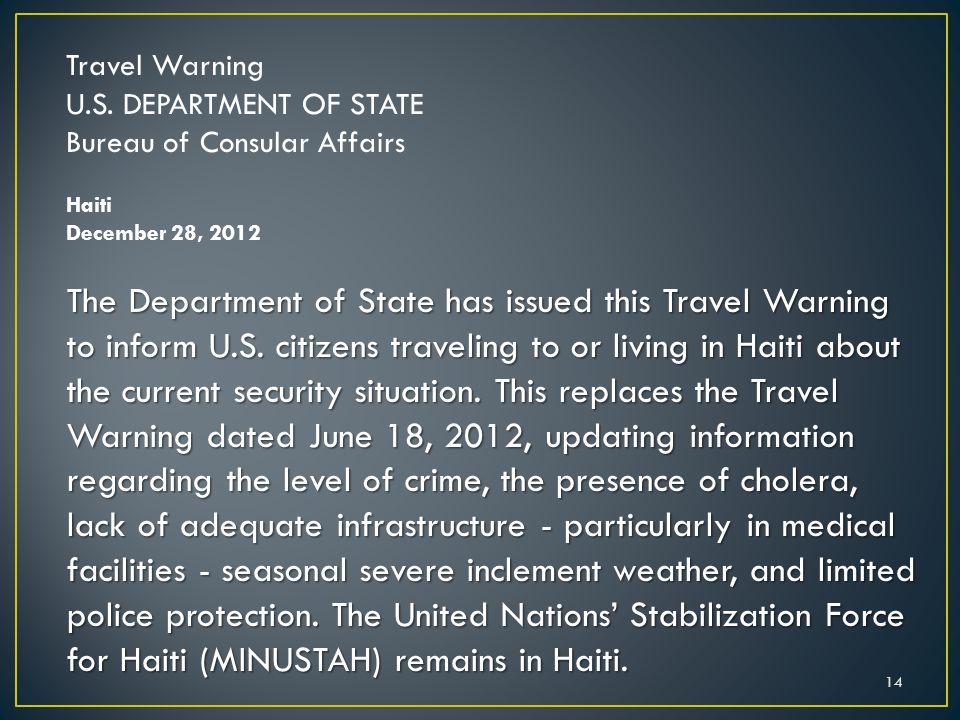 Travel Warning U.S.