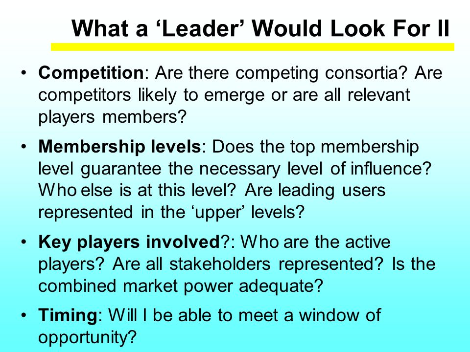 What a 'Leader' Would Look For II Competition: Are there competing consortia.